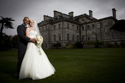 Bride and groom formal photo at Addington Palace