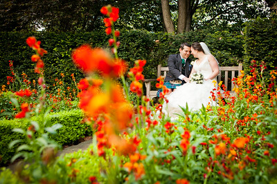 Bride and groom photographed at Belgravia Gardens in London