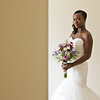 Bride poses for her portrait indoors