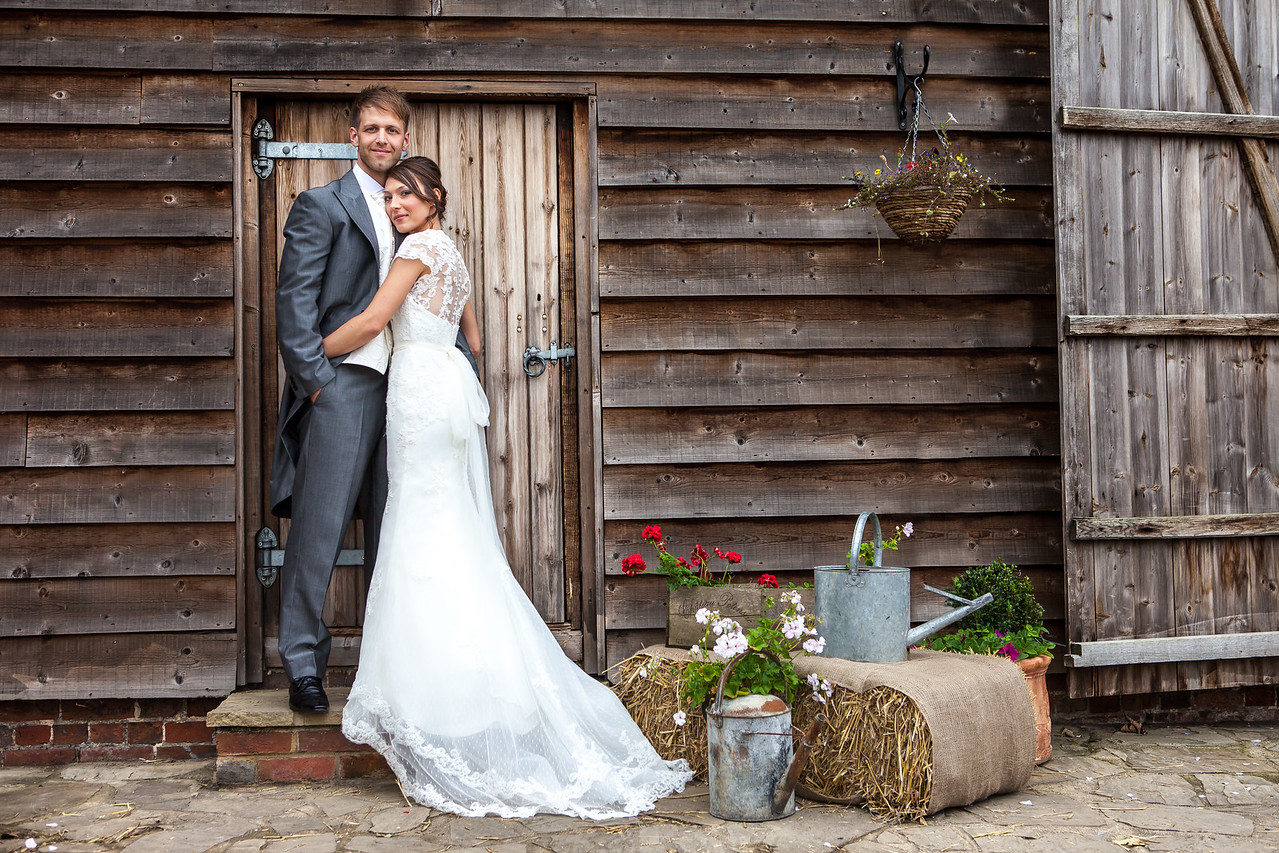 Bride and groom portrait at Taylor's Farm Barn