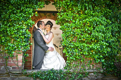 Bride and groom at Ghyll Manor in Rusper