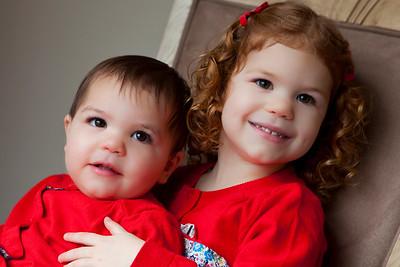Portrait of two girl siblings