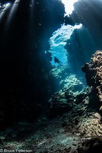 Diver Explores Cavern