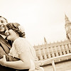 Bride and groom on their Thames riverboat with Big Ben in the background