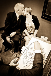 A caricature of two wedding guests at The Crowne Plaza in Crawley
