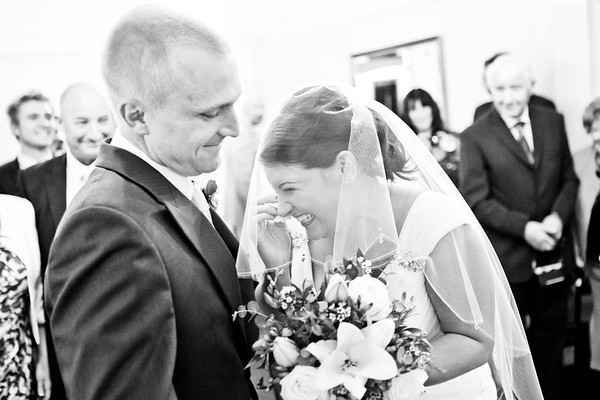 Bride crying when declaring her wedding vowels at Sutton Registry Office