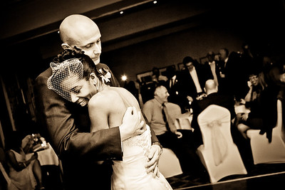 An intimate first dance between the bride and groom