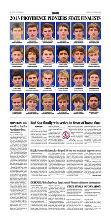 Sports Page - published Friday, November 1, 2013. Featuring: 2013 PROVIDENCE PIONEERS STATE FINALISTS