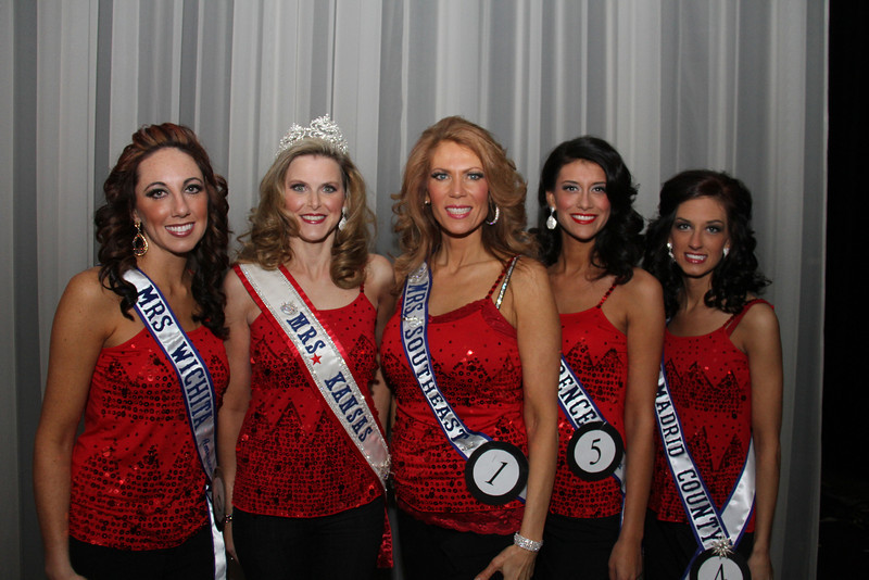 2013 Mrs Missouri America and Mrs Kansas America Pageant 1st half, Saturday, March 2, 2013<br /> Rachel Abdulaziz (Mrs Wichita 2013), Bobbie Padgett (Mrs Kansas America 2012), Marsha Woolard (Mrs Southeast 2013), Elizabeth Stephens (Mrs Lawrence 2013) and Allison Davis (Mrs New Madrid County 2013)