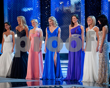 Miss Maine 2010 Arikka Knights with her fellow contestents durring the 2011 Evening Gown competition on Tuesday night.