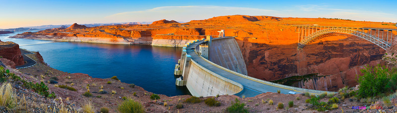 Glen Canyon.  On the left is a small part of Lake Powell, the second largest man-made lake after Lake Mead. Glen Canyon dam and bridge are on the middle and right.