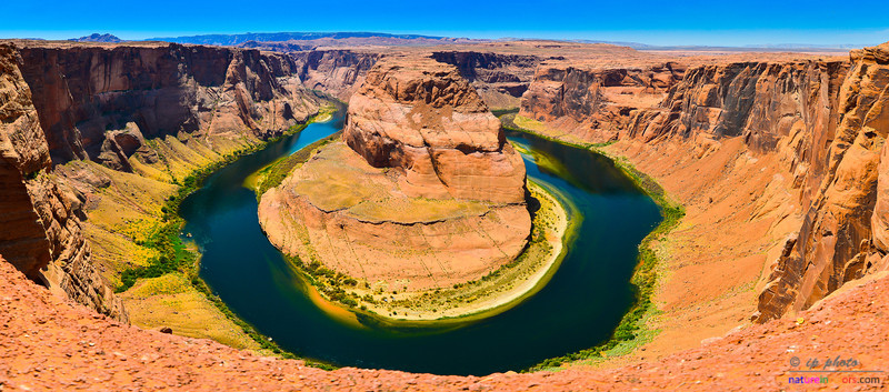 Horseshoe Bend in panorama.<br /> This bend is a part of the Colorado river about 4 miles South of the city of Page, AZ.