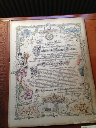 Urkunde zum 70. Geburtstag von Julius Kühn