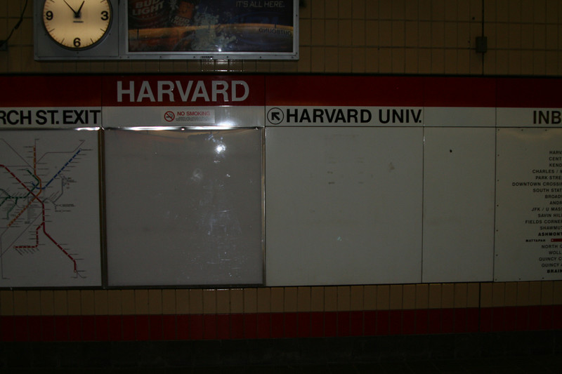 My starting point, the Harvard station of the RED line of the T