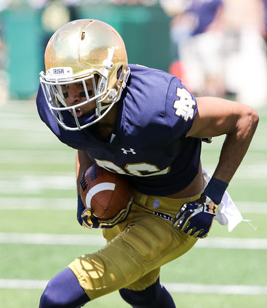 CHAD WEAVER | THE GOSHEN NEWS<br /> Notre Dame wide receiver Equanimeous St. Brown heads upfield after making a catch during the second quarter of Saturday's Blue-Gold Game at Notre Dame Stadium.
