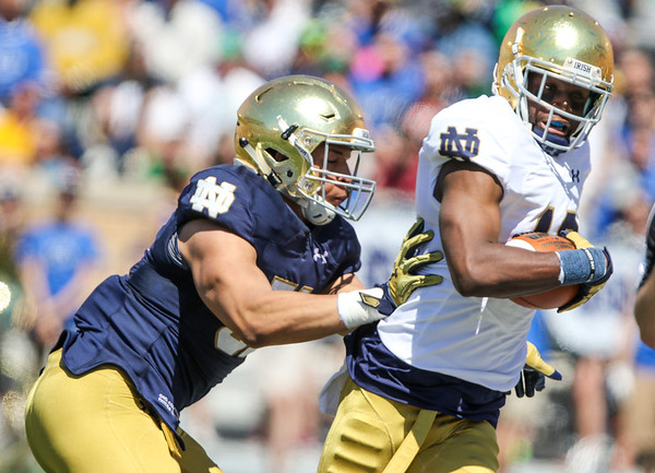 CHAD WEAVER | THE GOSHEN NEWS<br /> Notre Dame wide receiver Torii Hunter Jr. is pushed out of bounds by linebacker Devyn Spruell after making a catch during the first quarter of Saturday's Blue-Gold Game at Notre Dame Stadium.