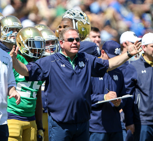 CHAD WEAVER   THE GOSHEN NEWS<br /> Notre Dame head coach Brian Kelly expresses some frustration with the offense during the second half of Saturday's Blue-Gold Game at Notre Dame Stadium.