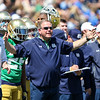 CHAD WEAVER | THE GOSHEN NEWS<br /> Notre Dame head coach Brian Kelly expresses some frustration with the offense during the second half of Saturday's Blue-Gold Game at Notre Dame Stadium.