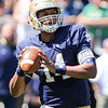 CHAD WEAVER | THE GOSHEN NEWS<br /> Notre Dame quarterback DeShone Kizer looks to throw a pass during the first quarter of Saturday's Blue-Gold Game at Notre Dame Stadium.