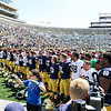 CHAD WEAVER | THE GOSHEN NEWS<br /> The Notre Dame football team lines up for the Alma Mater following Saturday's Blue-Gold Game at Notre Dame Stadium.