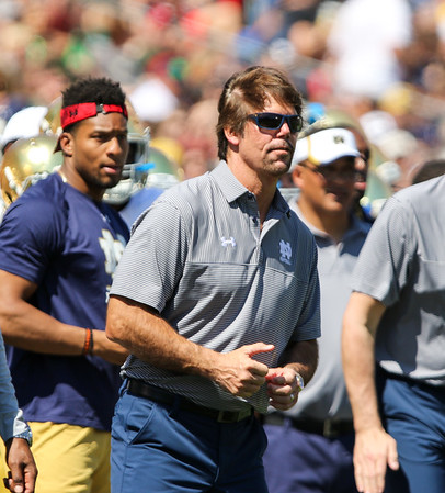 CHAD WEAVER | THE GOSHEN NEWS<br /> Notre Dame defensive coordinator Brian VanGorder looks on during the second half of Saturday's Blue-Gold Game at Notre Dame Stadium.