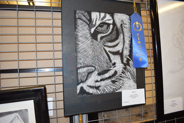 """This scratchboard called """"Fierce"""" was made by Madison Goldstein, a ninth grader at Teutopolis High School. She earned First Place in her age group. Dawn Schabbing photo"""