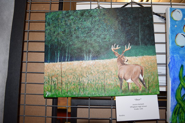 """Here is work done titled, """"Deer"""" by Jessica Herboth, a senior at Effingham High School. Photo by Dawn Schabbing"""