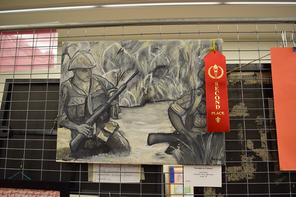 """""""Grandpa in Vietnam"""" was created by Casey Deters a seventh grader at Teutopolis Jr. High School. A second place ribbon was awarded for this work in the age group. Dawn Schabbing photo"""