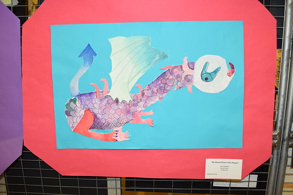 "This watercolor and ink creation by Ann Feldhake titled ""My Round Head Celtic Dragon,"" was displayed at the Children's Art Show. She is an eighth grader at Sacred Heart School. Dawn Schabbing photo."