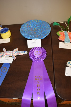 The Best of Show in this age group went to Aidan Niemerg, a fourth grader at Teutopolis Grade School. The blue 3D work was made with clay and displayed at the Children's Art Show, 2019. Dawn Schabbing photo