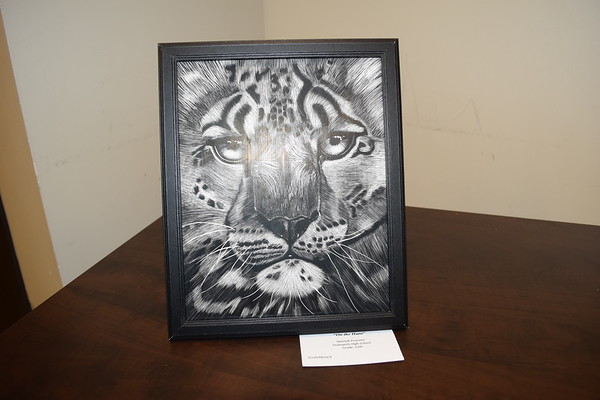 """On the Hunt"" was made by Hannah Pruemer, a 12th grader at Teutopolis High School. This is a scratchboard creation. Dawn Schabbing  photo"