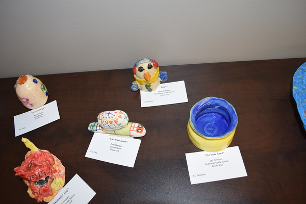 Shown are several 3D art pieces in both clay and ceramic at the Children's Art Show, 2019. Dawn Schabbing photo