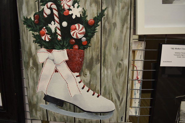 "Camryn Crowell, a junior at Effingham High School, also created ""Running on Ice,"" an acrylic work. Dawn Schabbing photo"