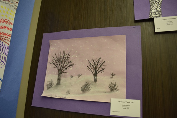 "Karly Zumwalt created ""Patterned Purple Pal,"" as a third grader at Sacred Heart School, using colored pencils. It was among other displayed at the Children's Art Show in 2019. Dawn Schabbing photo"