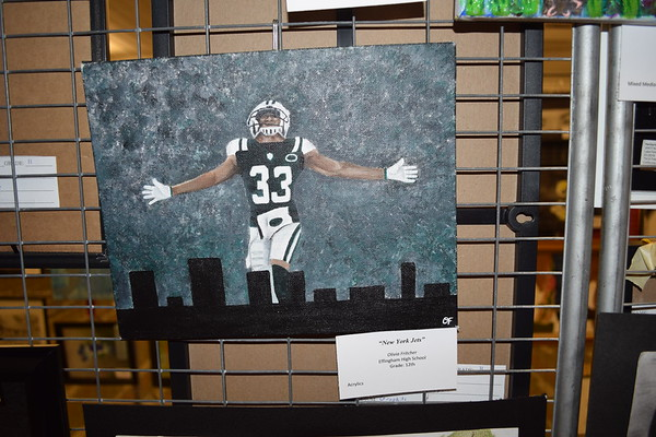 """Olivia Fritcher painted this """"New York Jets"""" work. She is a senior at Effingham High School. Dawn Schabbing photo"""