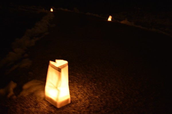 Some luminaries helped guide people as they walked the General Dacey Trail Saturday night.