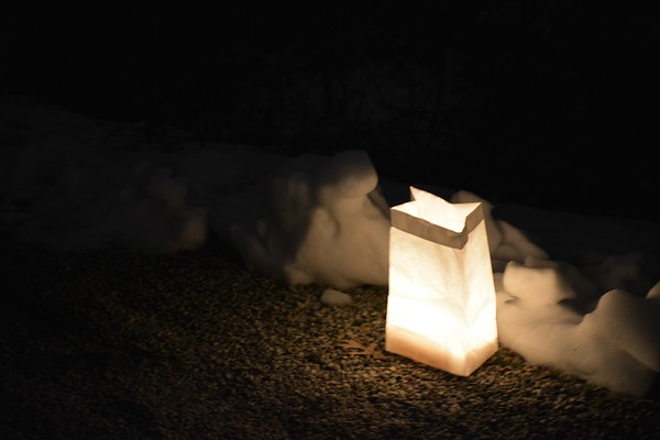 This is just one of the luminaries that helped light up the trail Saturday night.