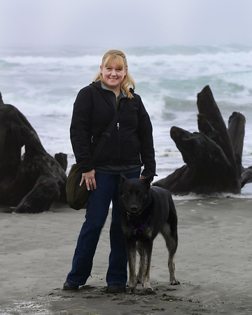 Chelsea and I on the beach - Oct 2012<br /> Cape Disappointment, Washington
