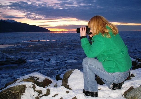 Photographing the Sunset on Turnagain Arm, Anchorage, Alaska