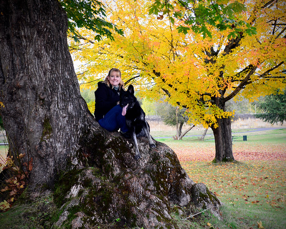 Sitting on a big tree with Chelsea,<br /> Riverside Park, Cowlitz County, Washington