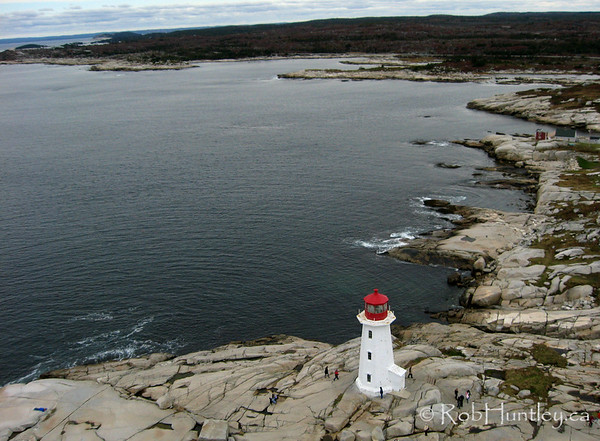 Aerial photograph of the lighthouse at Peggy's Cove, Nova Scotia, Canada.