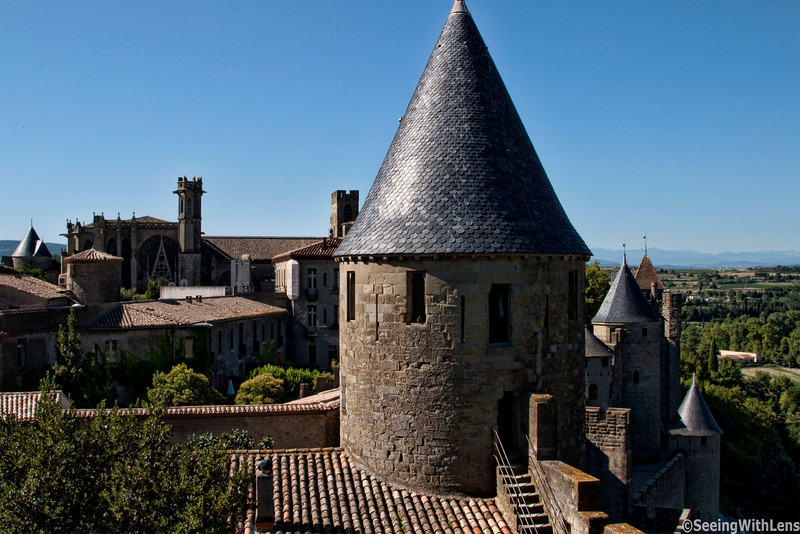 Castle of Carcassonne - and view of the village