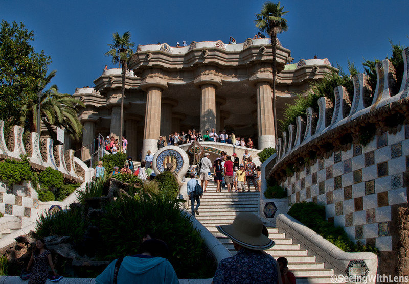 Main Steps in Guell Park (Parc Guell) - Barcelona, Spain