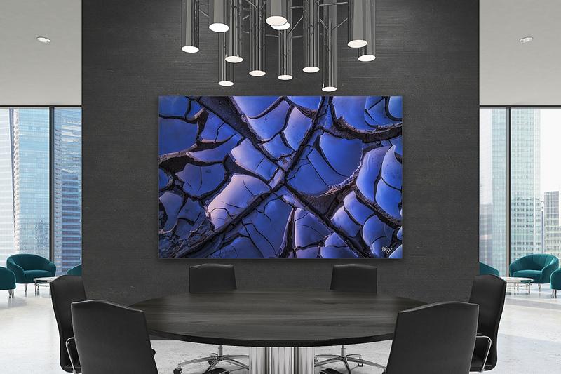 Black meeting room interior, poster