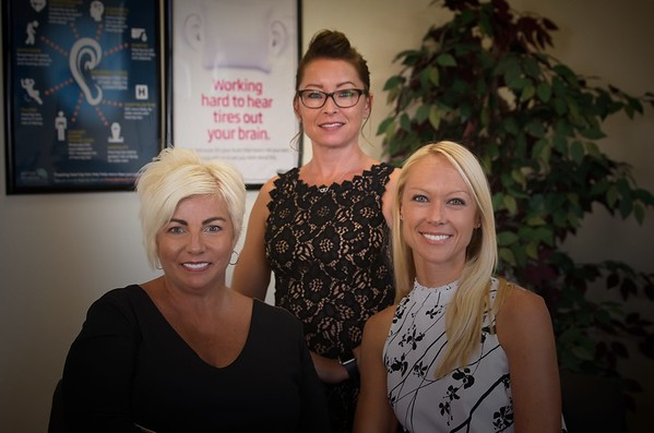 Hometown News - Adept Audiology - group shot is LtoR Eve D'Antonio Audiology Asstistant & Office Mgr Mary Richer Front Desk Receptionist and Dr. Lyndsey Lalu