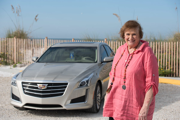 Larry Gay Reagan with her new Cadillac from Sunset