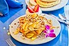 Hometown News - The Breakfast Cotage - Food pix - Pear Compote French Toast with Peacan Carmel Drizzel