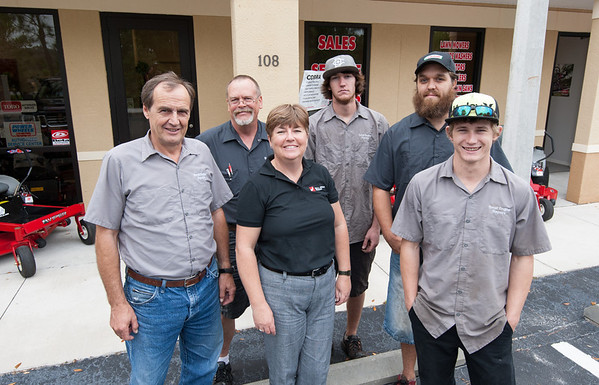 Small Engine Repairs - Thomas and Karen Niederer (owners) LtoR Thomas Niederer Allen Lystig, Karen Niederer, Brandon Hughes, Chris Wheeler, Nick Walling