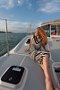 Photos shot for Hometown News Lakewood Ranch on board the Kathleen D - Photos by Mark M. Odell and OdellPhotos.com shot on 4/11/14 Mrs. Leslee Odell of Lakewood Ranch enjoys the view from the front of the Kathleen D and the Sun Setting.