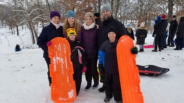 The Waymoth Family enjoys the day together playing in the snow at Community Park in Effingham. From left to right in the back row, Karla, 40, Clare, 15, Lilly, 13, Waylon, 40, and in the front are Josie, 7 and Sam, 9. Dawn Schabbing photo